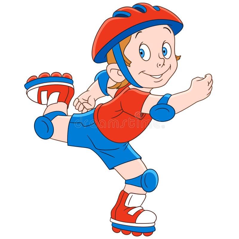 Patinador del rodillo del muchacho de la historieta stock de ilustración