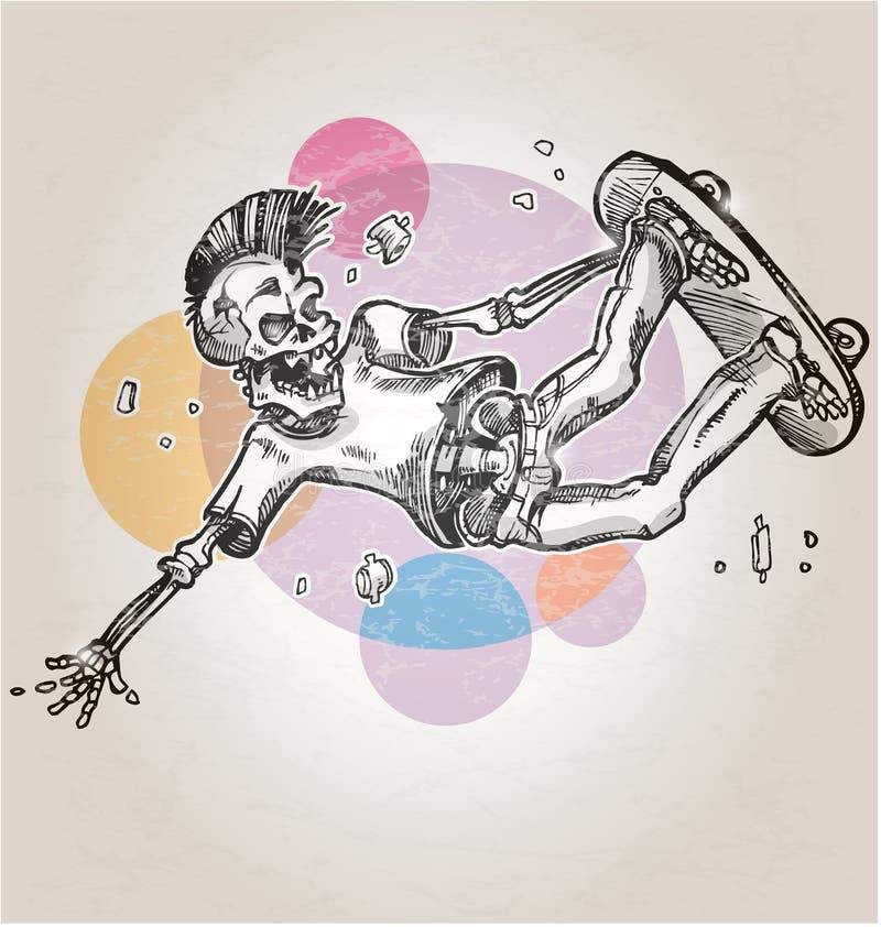 Patinador esquelético ilustración del vector
