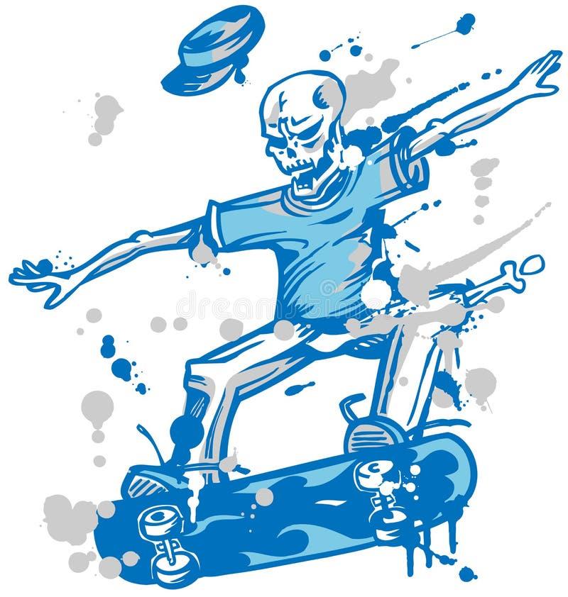 Patinador esquelético en el fondo blanco libre illustration