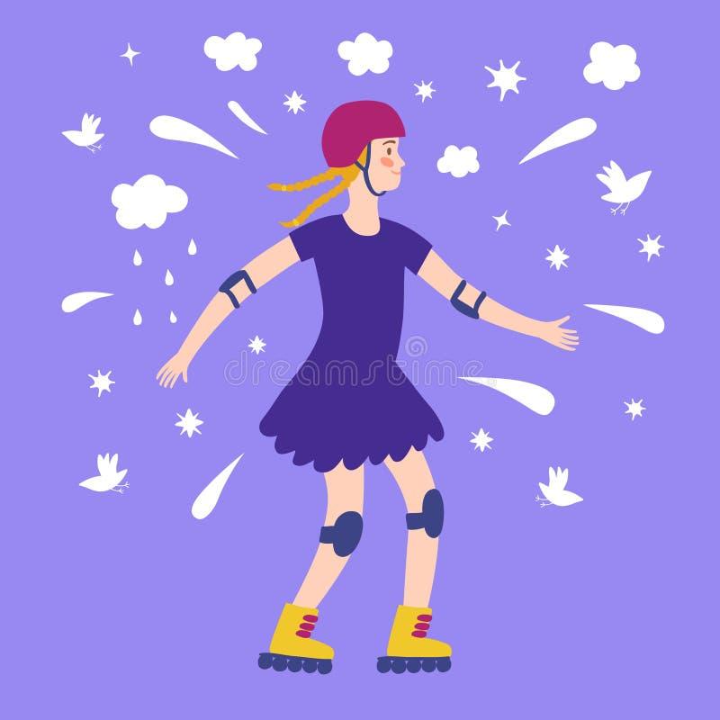 Patinador feliz de la muchacha de la historieta ilustración del vector