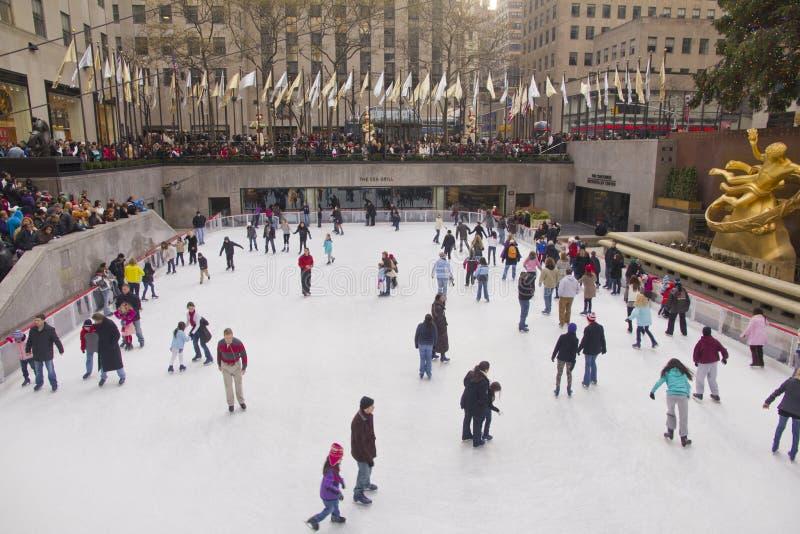 Patinage de glace central de Rockefeller. images libres de droits