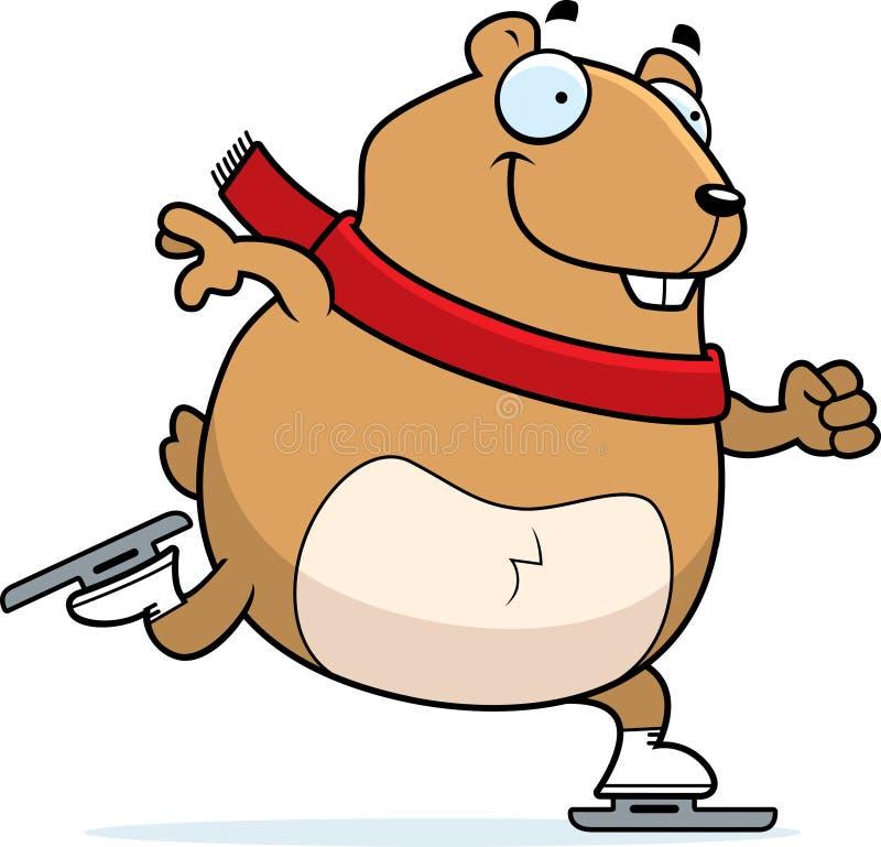 Patinage de glace de hamster de bande dessinée illustration stock