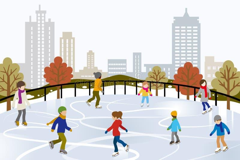 Patinage de glace de personnes sur la patinoire urbaine illustration de vecteur