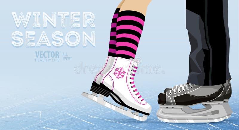Patinage de glace de femme et d'homme hiver dehors sur la patinoire pattes Patins de hockey sur glace Patinage artistique Texture illustration stock