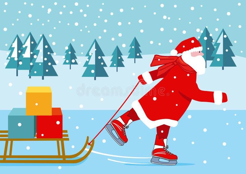 Patinage de glace de Santa Claus avec des présents illustration libre de droits