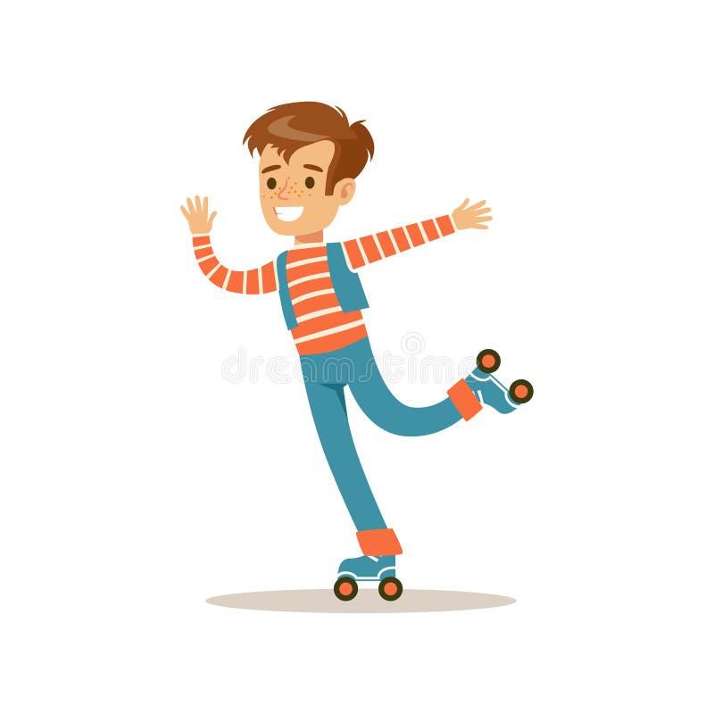 Patinage de rouleau de garçon, illustration classique de comportement prévue par rôle masculin traditionnel d'enfant illustration de vecteur