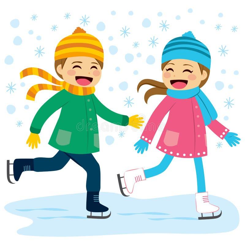 Patinagem no gelo do menino e da menina ilustração royalty free