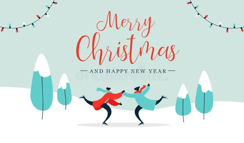 Patinagem no gelo nova dos pares do cartão de Natal fora ilustração stock