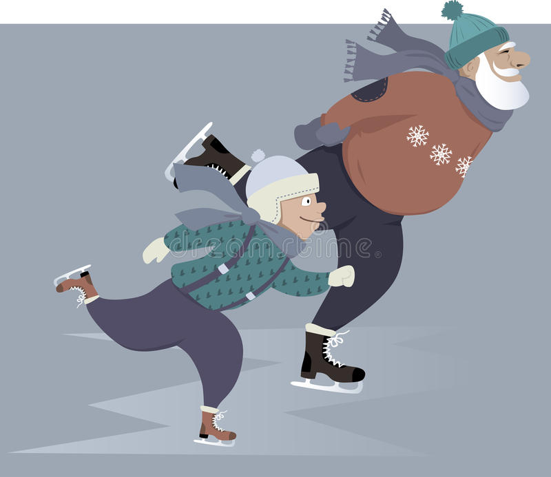 Patinaje de hielo con el abuelo libre illustration