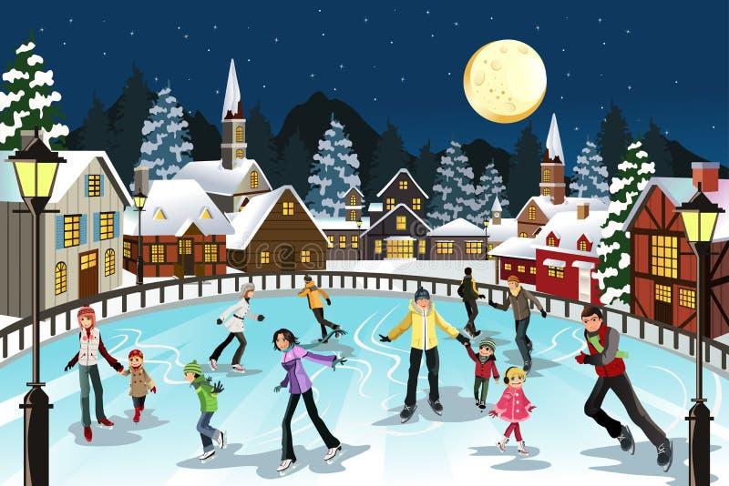 Patinaje de hielo de la gente ilustración del vector