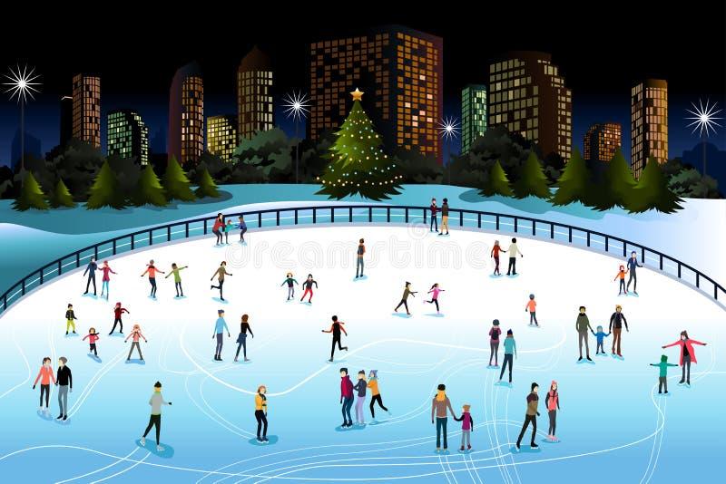 Patinaje de hielo de la gente al aire libre stock de ilustración