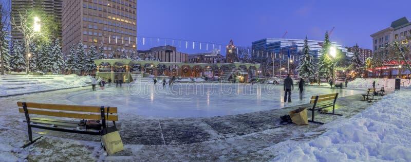 Patinaje de hielo de las familias en el parque olímpico foto de archivo
