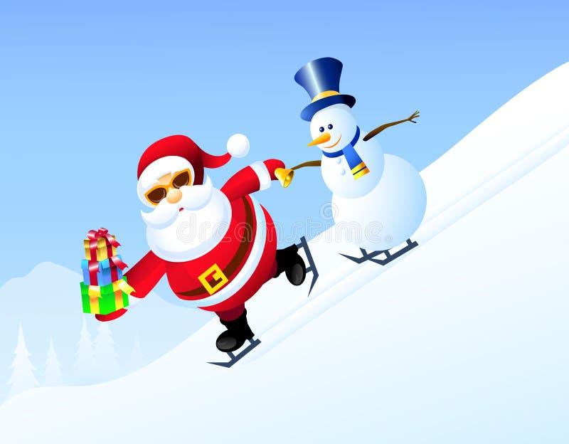 Patinaje de hielo de Santa Claus y del muñeco de nieve - vector ilustración del vector