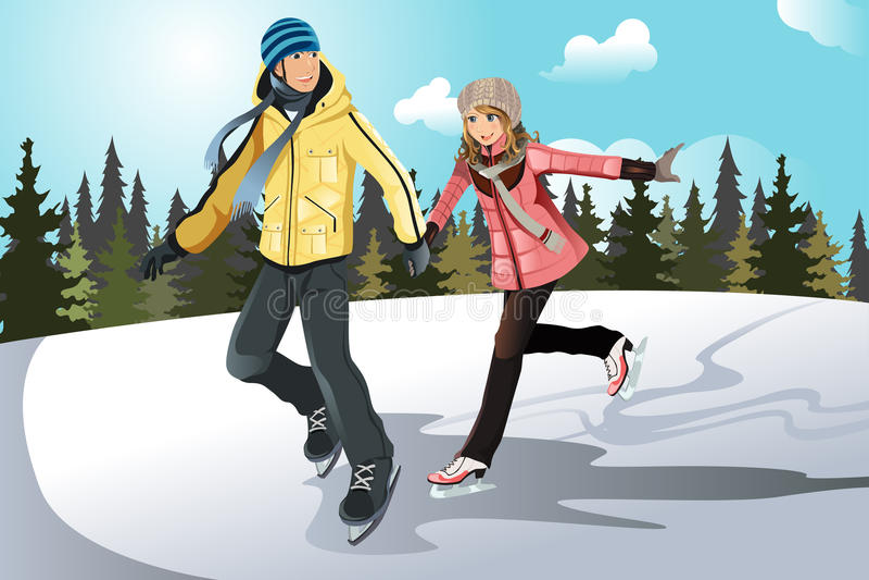 Patinaje de hielo joven de los pares libre illustration