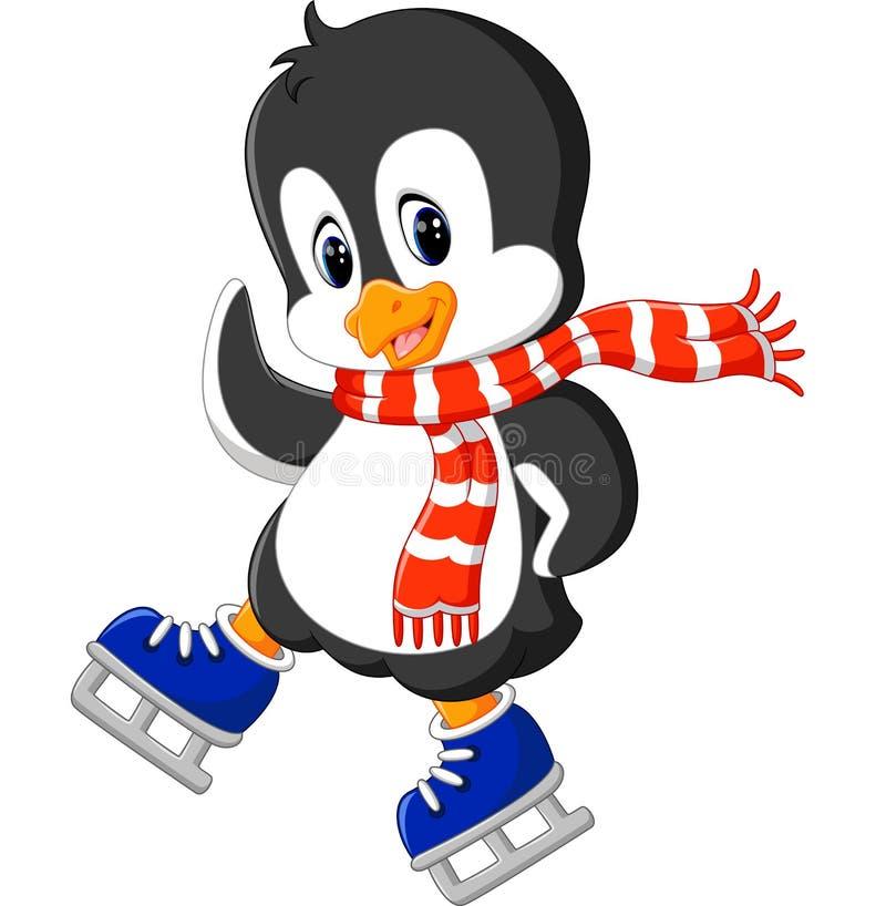 Patinaje de hielo lindo del pingüino libre illustration