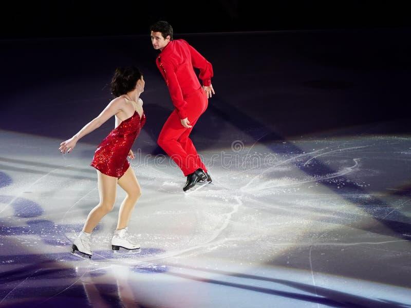 Patinaje de hielo Tessa Virture y Scott Moir fotos de archivo libres de regalías
