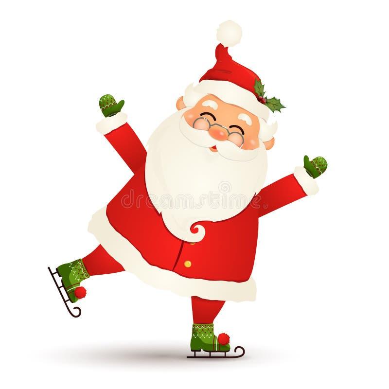 Patinaje de la Navidad de Santa Claus de hielo y saludo lindos, alegres, divertidos aislado en el fondo blanco Papá Noel para libre illustration