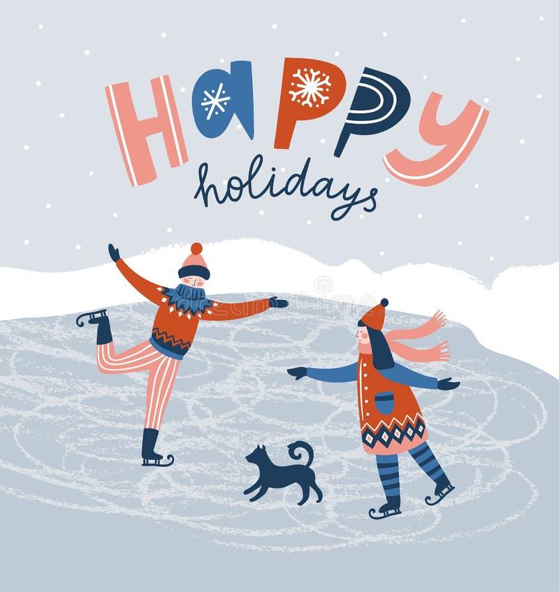 Patinaje de los niños Tarjeta con las letras - 'buenas fiestas ' Ejemplo de la Navidad del vector del invierno ilustración del vector