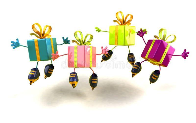 Patinaje de los regalos stock de ilustración