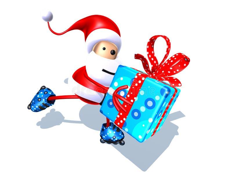 Patinaje de Papá Noel ilustración del vector