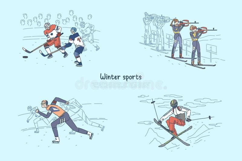 Patinaje de velocidad, competencia del biathlon, partido del hockey sobre hielo, esquí profesional del deportista, plantilla peli stock de ilustración