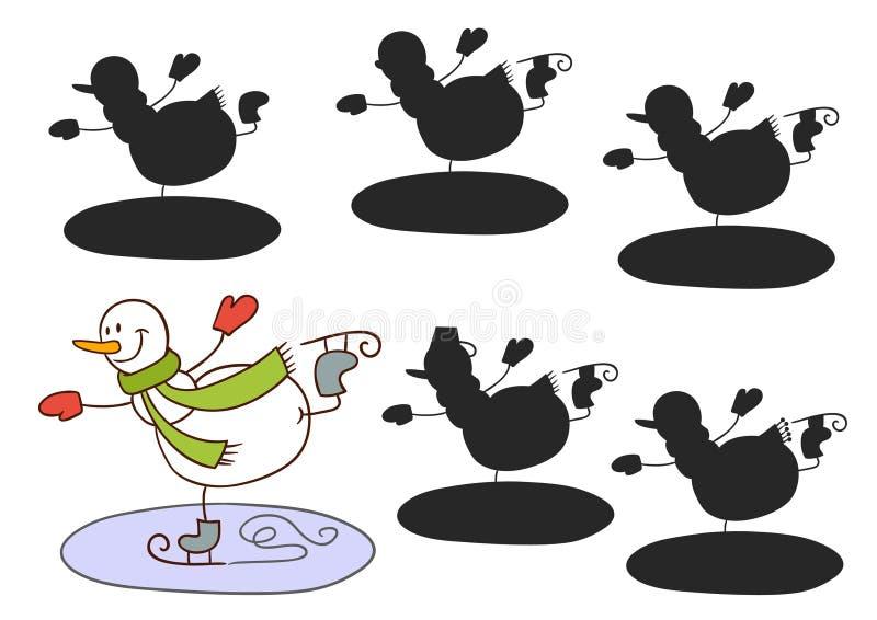 Patinaje del muñeco de nieve ilustración del vector