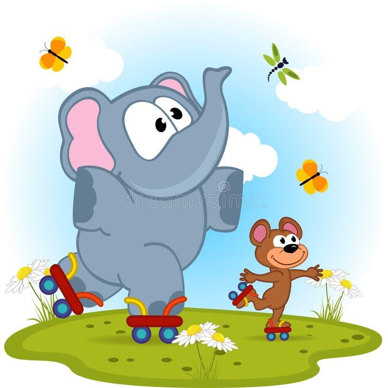 Patinaje sobre ruedas del elefante y del ratón ilustración del vector