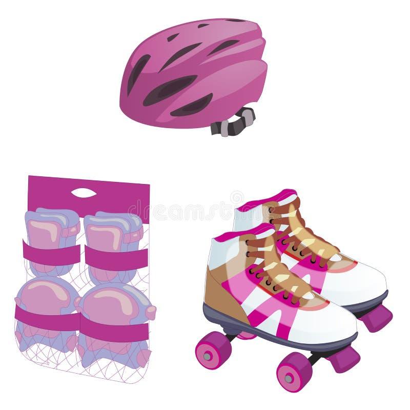 Patinaje sobre ruedas sistema lindo del equipo de la historieta guantes protectores, casco y materia Ejemplo plano del vector del stock de ilustración
