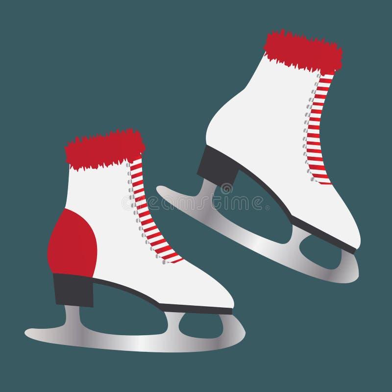 Patines de hielo con la piel Calzado para los deportes de invierno libre illustration
