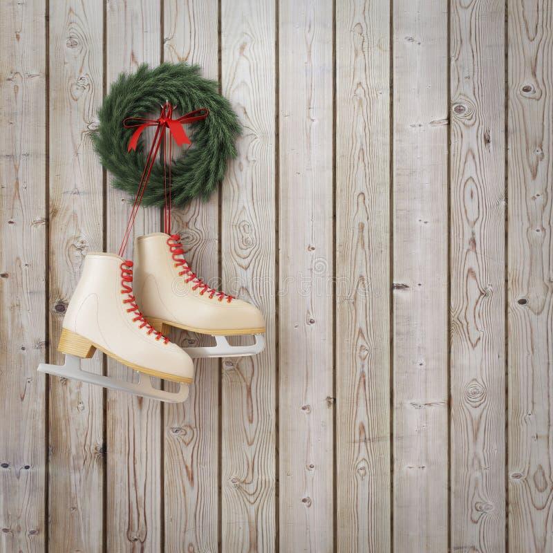 Patines que cuelgan en la pared de madera de los tablones con la guirnalda, fondo de la Navidad del invierno ilustración del vector