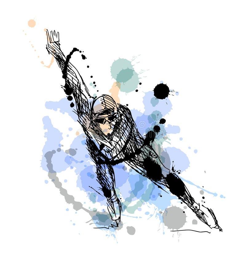 Patineur coloré de dessin de main illustration de vecteur