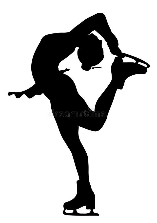 patineur de silhouette d'isolement par glace de fille illustration libre de droits
