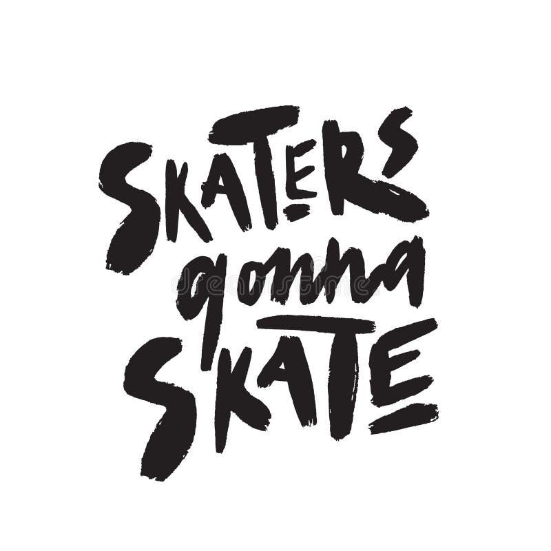Patineurs allant patiner Citation tirée par la main drôle illustration stock