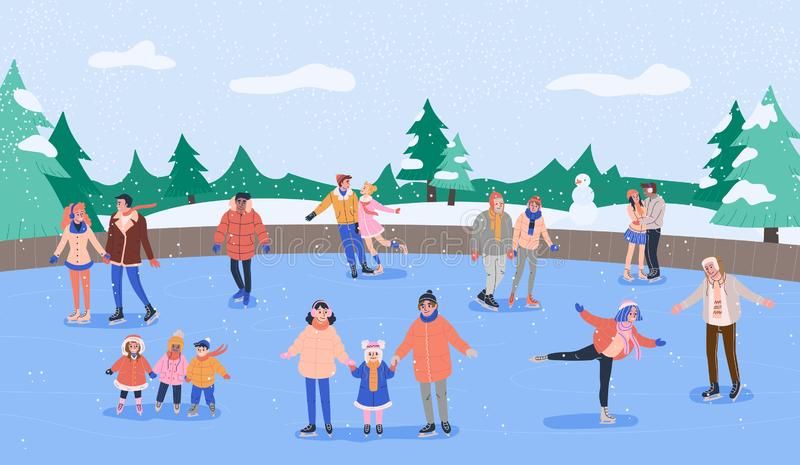 Patinoire avec le divers patinage de sourire de personnes Illustration de vecteur illustration libre de droits