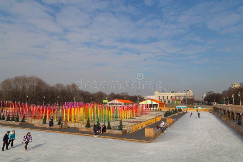 Patinoire en parc de Gorki d'hiver image stock