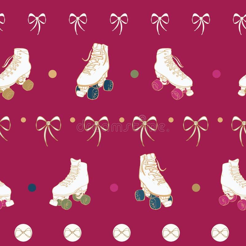 Patins de rouleau de Noël de vecteur et arcs de dentelle sur le fond sans couture rouge de modèle illustration de vecteur
