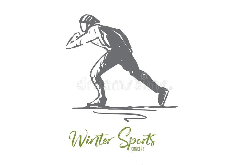 Patins, inverno, esporte, velocidade, conceito da pista Vetor isolado tirado m?o ilustração royalty free