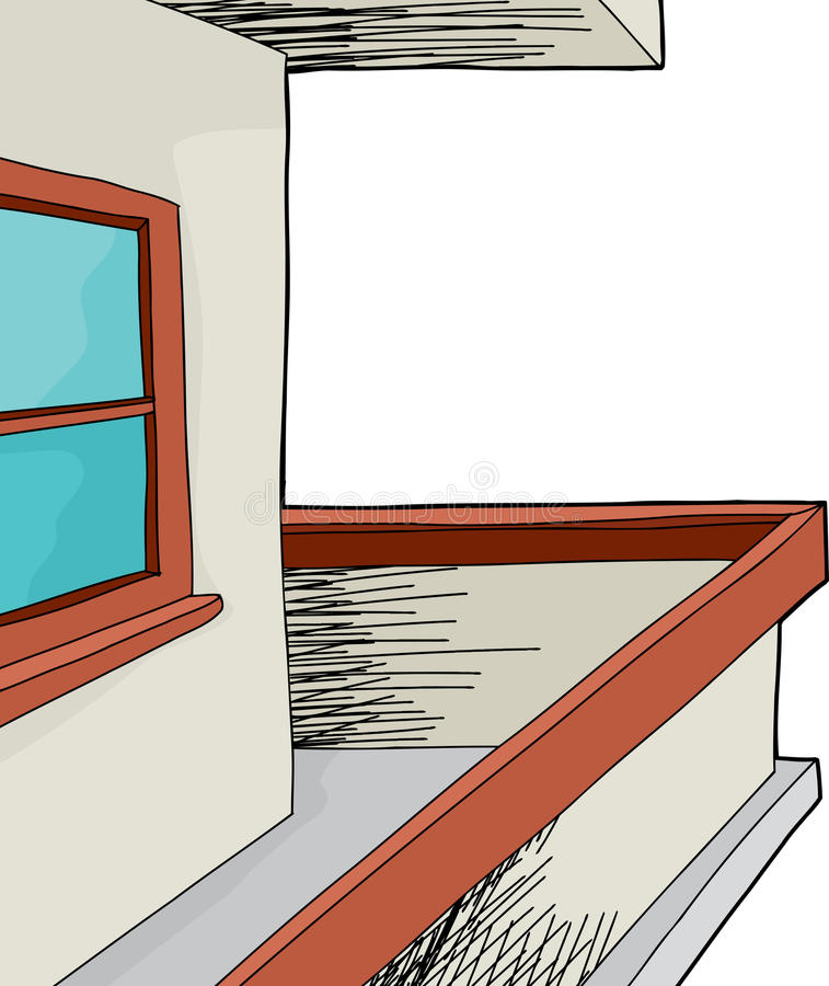 Patio με το παράθυρο διανυσματική απεικόνιση