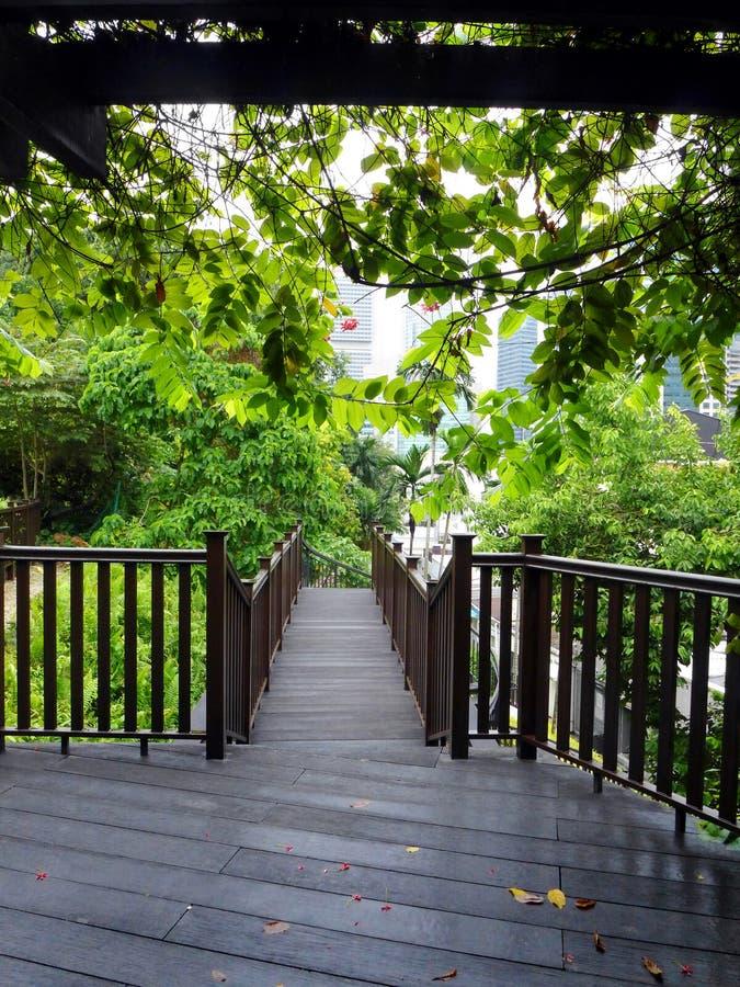 Patio πάρκων πόλεων με το υπόβαθρο οριζόντων στοκ εικόνα με δικαίωμα ελεύθερης χρήσης