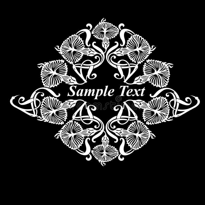 Patio adornado blanco y negro de la flor ilustración del vector