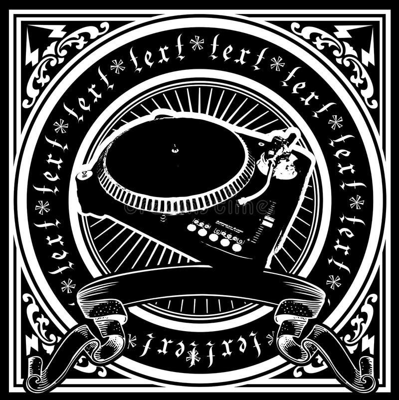 Patio adornado del jugador blanco y negro de DJ. libre illustration