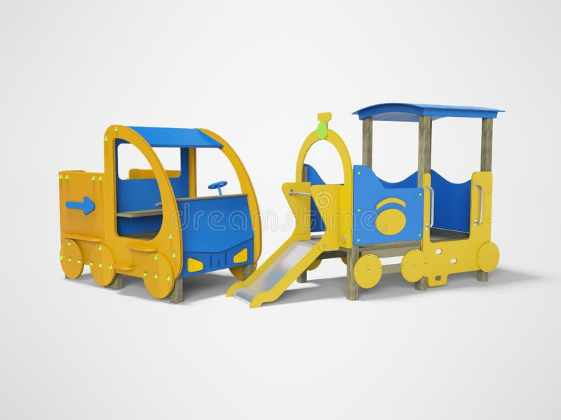 Patio azul y amarillo del coche y del tren para los niños 3d rendir en fondo gris con la sombra ilustración del vector