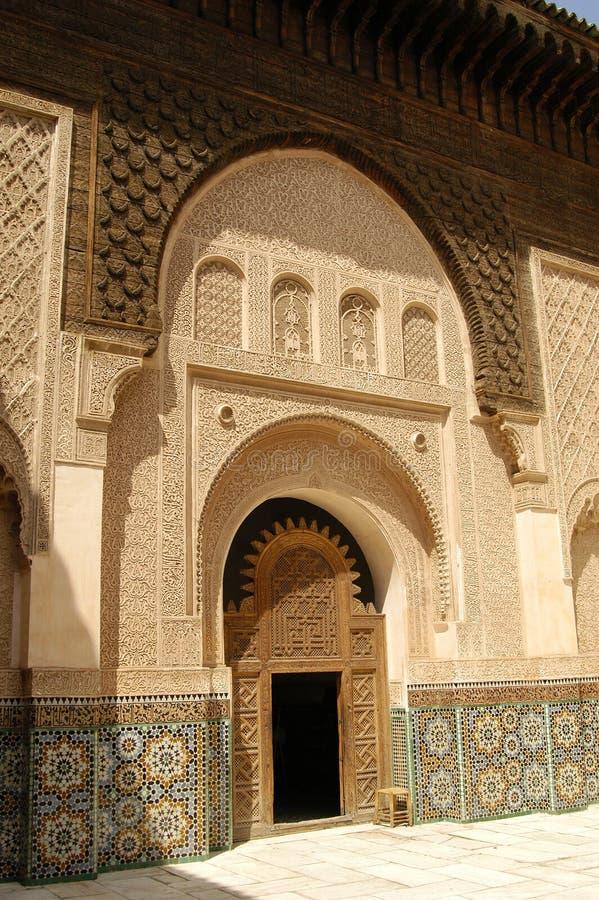 Patio bei Ben Youssef Medrassa in Marrakesch lizenzfreie stockfotografie
