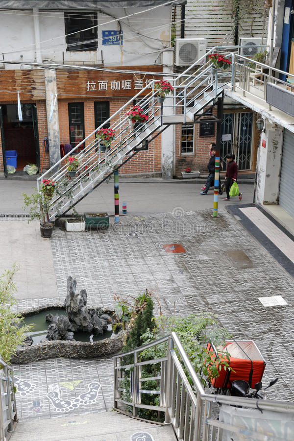 Patio of cat museum. Courtyard of cat museum in the famous cat street, amoy city, china stock image