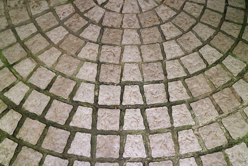 Patio circular pavimentado piedra para el fondo fotos de archivo libres de regalías