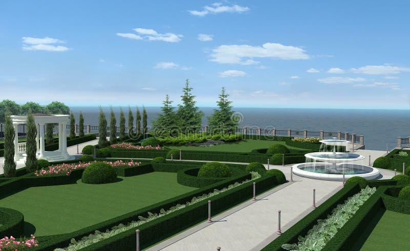 Patio clásico del jardín del nudo del estilo, representación 3d ilustración del vector