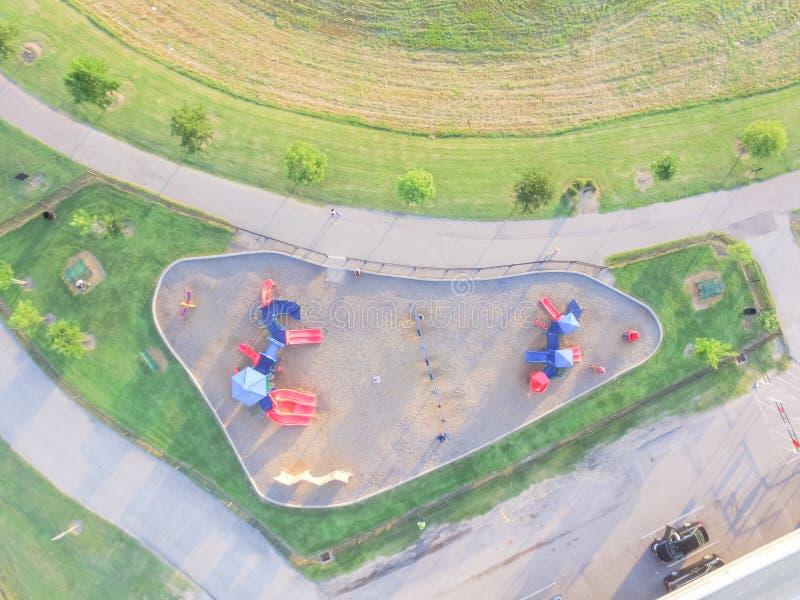 Patio colorido de la visión aérea en el parque público en Houston, Tejas foto de archivo