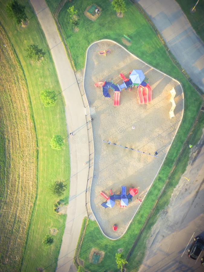 Patio colorido de la visión aérea en el parque público en Houston, Tejas imagen de archivo