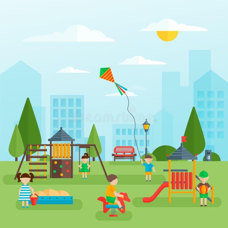 Patio con diseño plano de los niños stock de ilustración