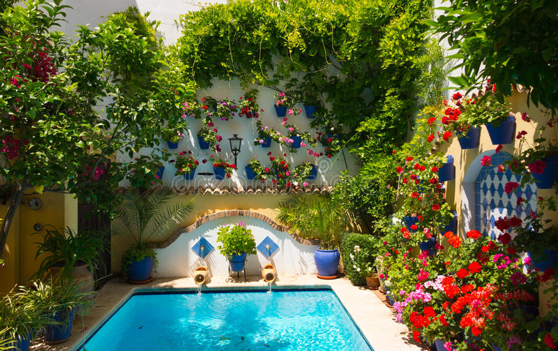 Patio in cordoba. Traditional flower-decorated patio in cordoba, spain, duriing the Festival de los Patios Cordobeses stock images